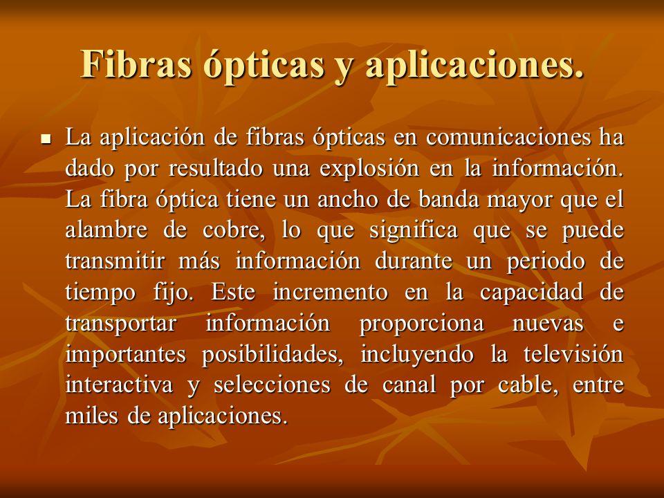 Fibras ópticas y aplicaciones. La aplicación de fibras ópticas en comunicaciones ha dado por resultado una explosión en la información. La fibra óptic
