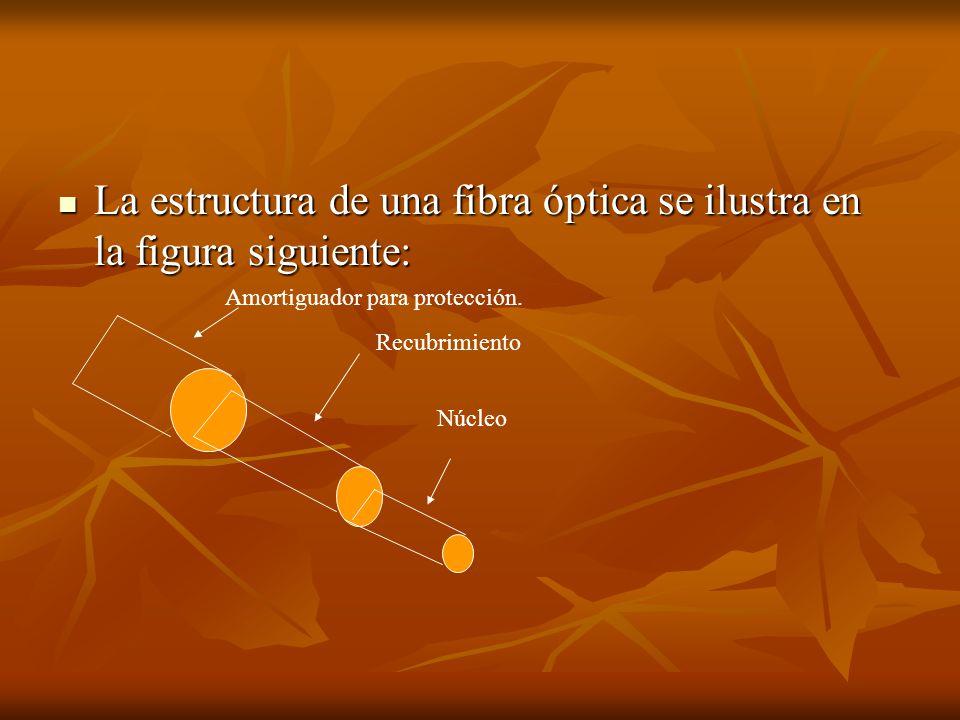 La estructura de una fibra óptica se ilustra en la figura siguiente: La estructura de una fibra óptica se ilustra en la figura siguiente: Amortiguador