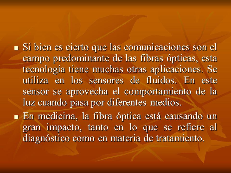 Si bien es cierto que las comunicaciones son el campo predominante de las fibras ópticas, esta tecnología tiene muchas otras aplicaciones. Se utiliza