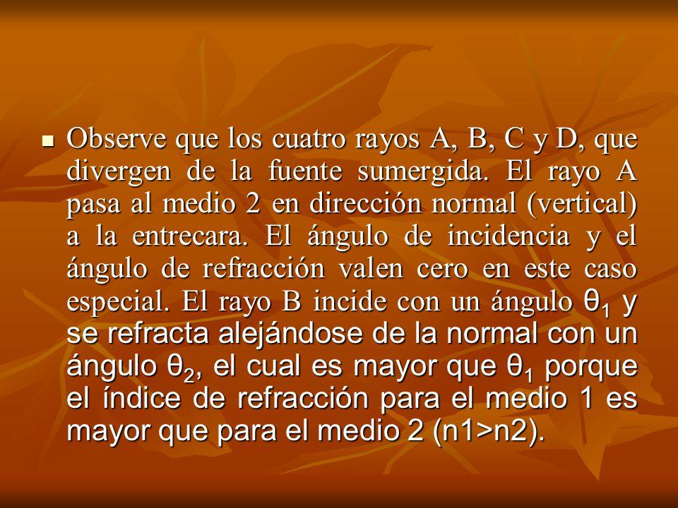 Observe que los cuatro rayos A, B, C y D, que divergen de la fuente sumergida. El rayo A pasa al medio 2 en dirección normal (vertical) a la entrecara