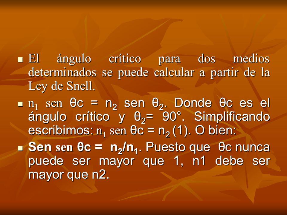 El ángulo crítico para dos medios determinados se puede calcular a partir de la Ley de Snell. El ángulo crítico para dos medios determinados se puede