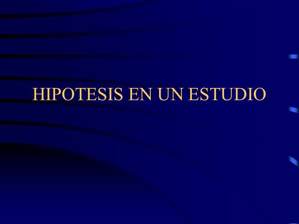 HIPOTESIS EN UN ESTUDIO