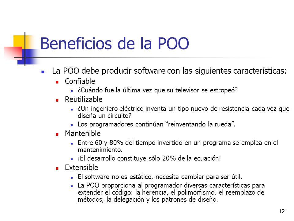 12 Beneficios de la POO La POO debe producir software con las siguientes características: Confiable ¿Cuándo fue la última vez que su televisor se estropeó.