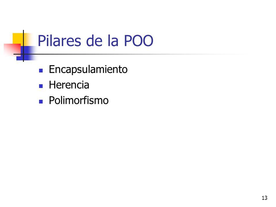 13 Pilares de la POO Encapsulamiento Herencia Polimorfismo