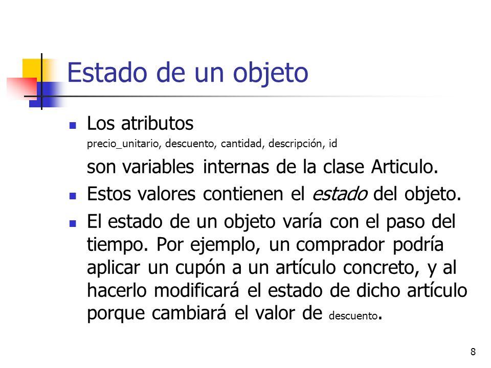 8 Estado de un objeto Los atributos precio_unitario, descuento, cantidad, descripción, id son variables internas de la clase Articulo. Estos valores c