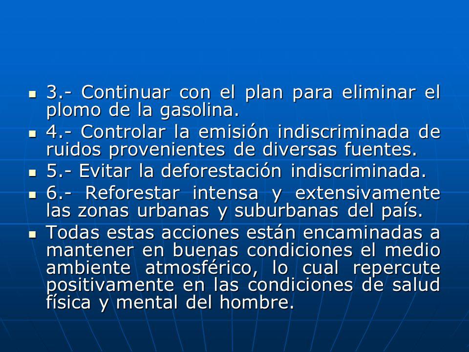 3.- Continuar con el plan para eliminar el plomo de la gasolina. 3.- Continuar con el plan para eliminar el plomo de la gasolina. 4.- Controlar la emi