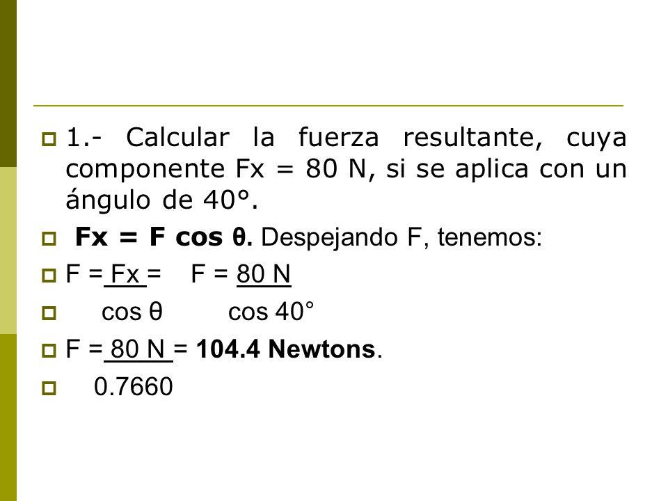 1.- Calcular la fuerza resultante, cuya componente Fx = 80 N, si se aplica con un ángulo de 40°.