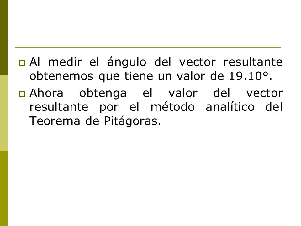 Al medir el ángulo del vector resultante obtenemos que tiene un valor de 19.10°.
