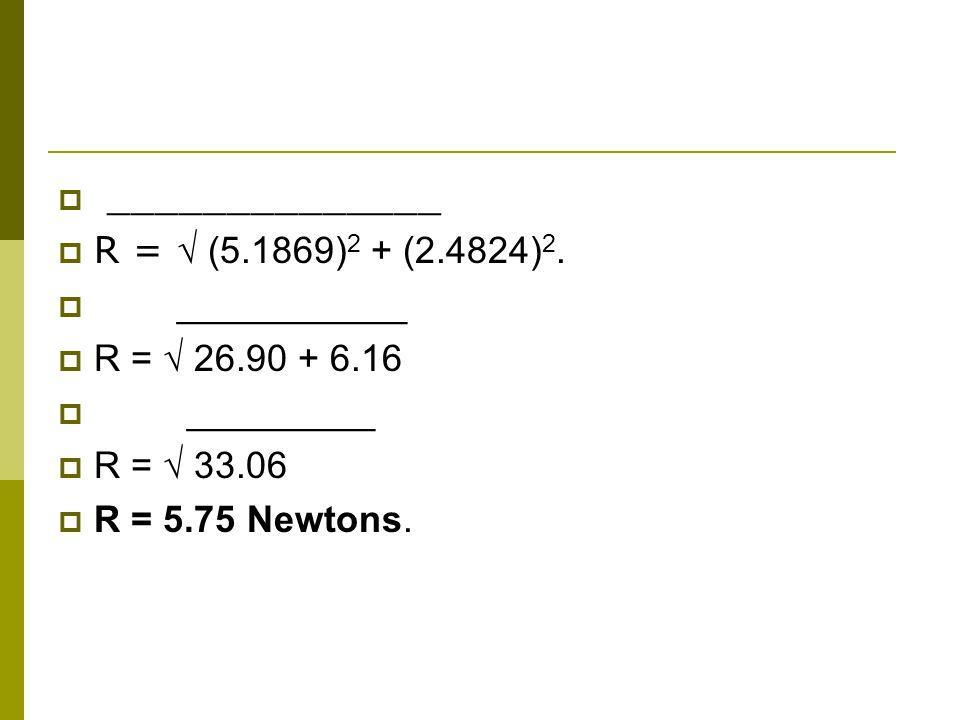 ______________ R = (5.1869) 2 + (2.4824) 2.