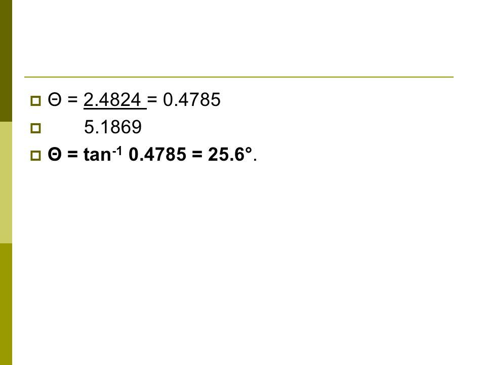 Θ = 2.4824 = 0.4785 5.1869 Θ = tan -1 0.4785 = 25.6°.
