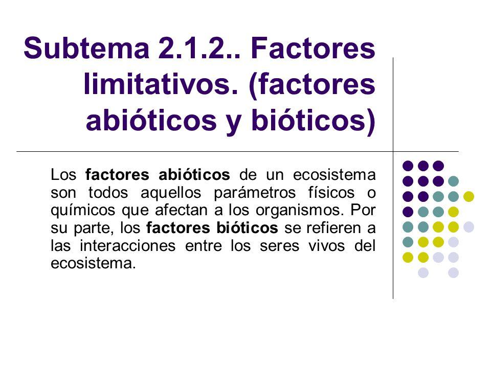 Subtema 2.1.2.. Factores limitativos. (factores abióticos y bióticos) Los factores abióticos de un ecosistema son todos aquellos parámetros físicos o