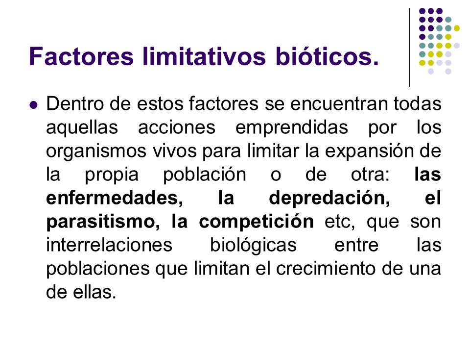 Factores limitativos bióticos. Dentro de estos factores se encuentran todas aquellas acciones emprendidas por los organismos vivos para limitar la exp
