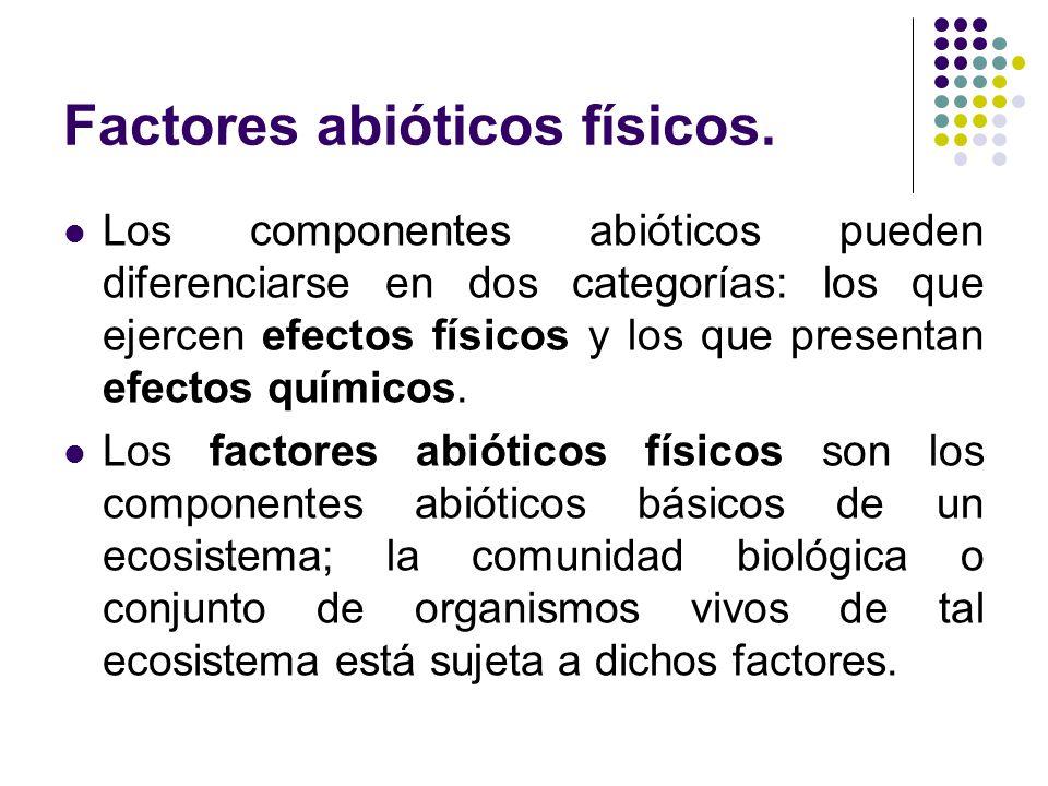 Factores abióticos físicos. Los componentes abióticos pueden diferenciarse en dos categorías: los que ejercen efectos físicos y los que presentan efec