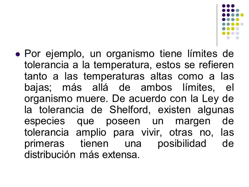 Por ejemplo, un organismo tiene límites de tolerancia a la temperatura, estos se refieren tanto a las temperaturas altas como a las bajas; más allá de