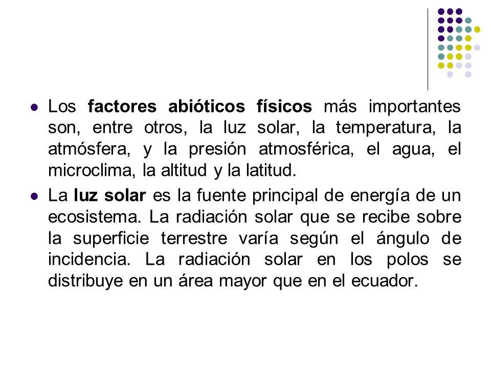 Los factores abióticos físicos más importantes son, entre otros, la luz solar, la temperatura, la atmósfera, y la presión atmosférica, el agua, el mic