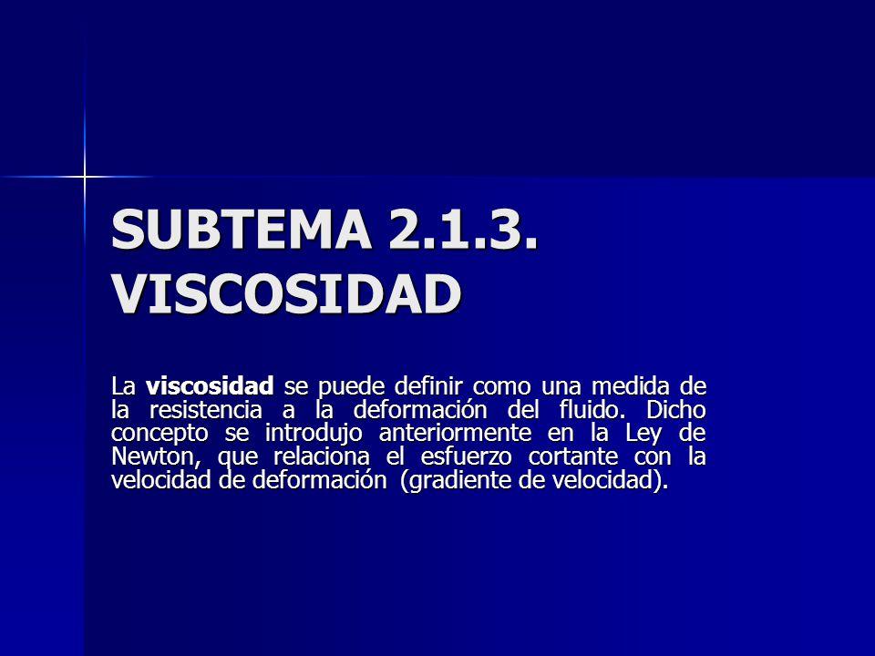 SUBTEMA 2.1.3. VISCOSIDAD La viscosidad se puede definir como una medida de la resistencia a la deformación del fluido. Dicho concepto se introdujo an