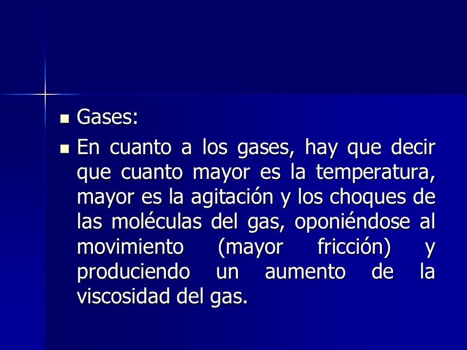 Gases: Gases: En cuanto a los gases, hay que decir que cuanto mayor es la temperatura, mayor es la agitación y los choques de las moléculas del gas, o