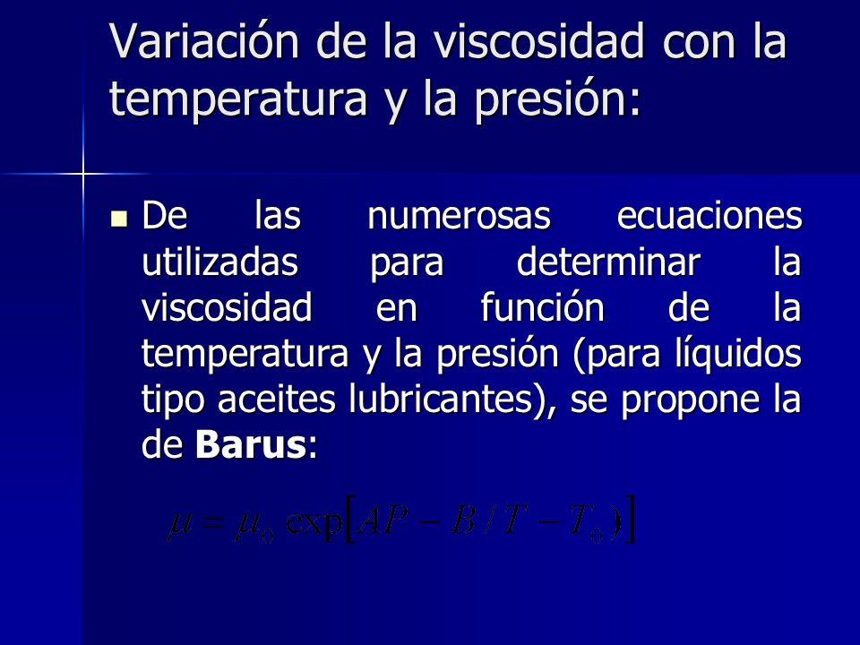 Variación de la viscosidad con la temperatura y la presión: De las numerosas ecuaciones utilizadas para determinar la viscosidad en función de la temp