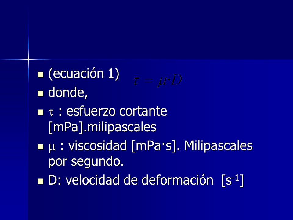 (ecuación 1) (ecuación 1) donde, donde, : esfuerzo cortante [mPa].milipascales : esfuerzo cortante [mPa].milipascales : viscosidad [mPa·s]. Milipascal