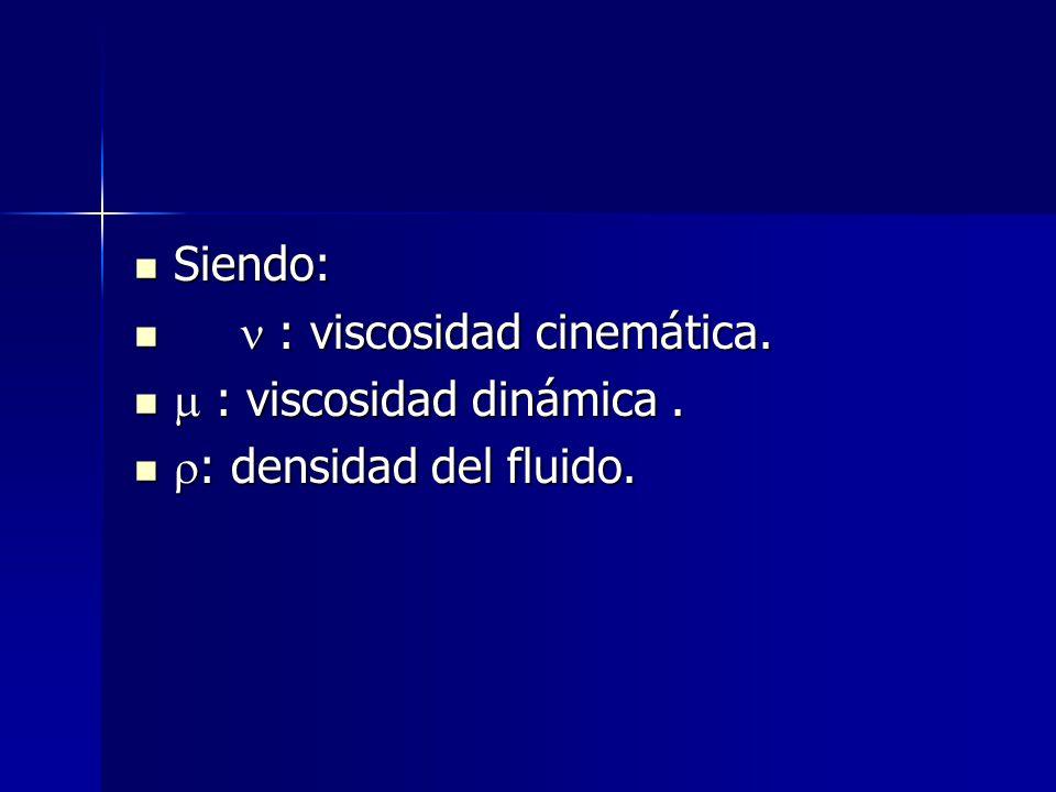 Siendo: Siendo: : viscosidad cinemática. : viscosidad cinemática. : viscosidad dinámica. : viscosidad dinámica. : densidad del fluido. : densidad del