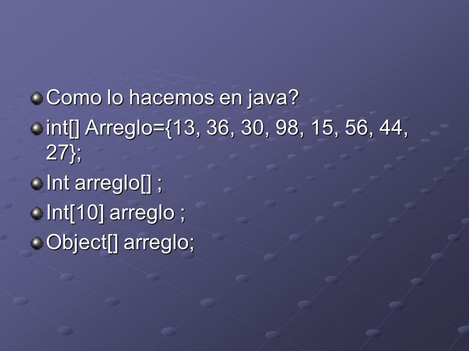 Como lo hacemos en java? int[] Arreglo={13, 36, 30, 98, 15, 56, 44, 27}; Int arreglo[] ; Int[10] arreglo ; Object[] arreglo;