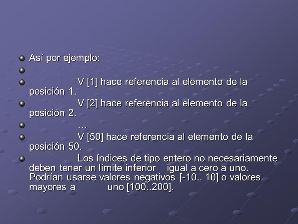 Así por ejemplo: V [1] hace referencia al elemento de la posición 1. V [2] hace referencia al elemento de la posición 2. … V [50] hace referencia al e