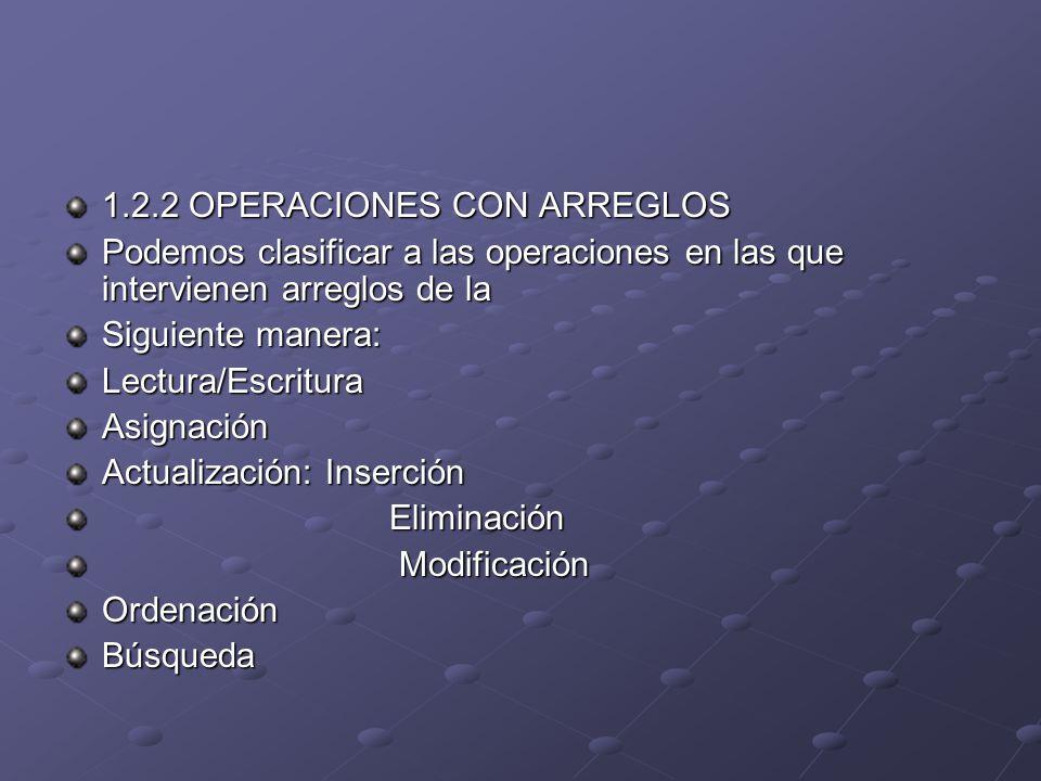 1.2.2 OPERACIONES CON ARREGLOS Podemos clasificar a las operaciones en las que intervienen arreglos de la Siguiente manera: Lectura/EscrituraAsignació