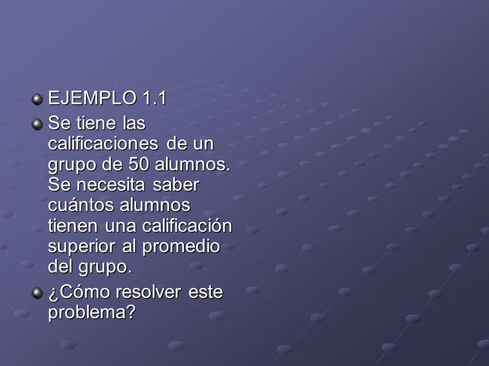 EJEMPLO 1.1 Se tiene las calificaciones de un grupo de 50 alumnos.