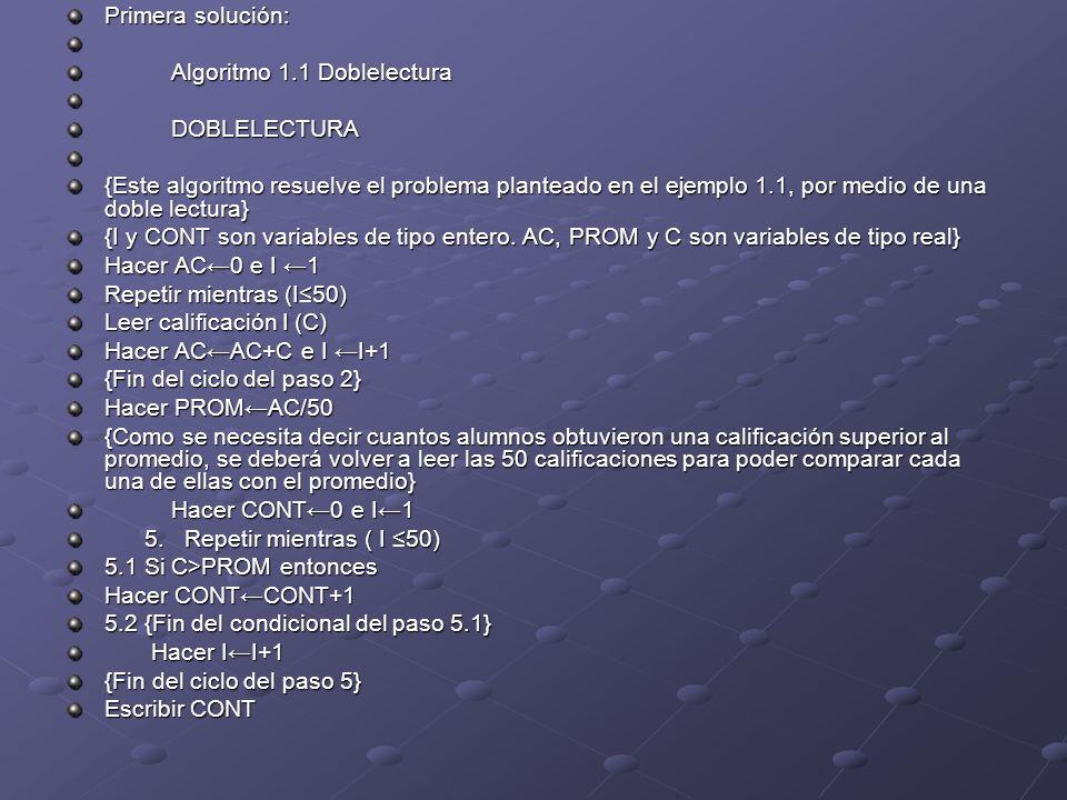 Primera solución: Algoritmo 1.1 Doblelectura DOBLELECTURA {Este algoritmo resuelve el problema planteado en el ejemplo 1.1, por medio de una doble lectura} {I y CONT son variables de tipo entero.
