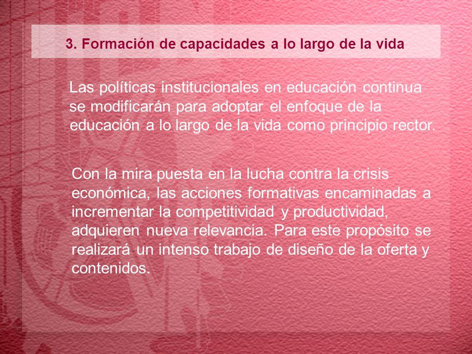 3. Formación de capacidades a lo largo de la vida Las políticas institucionales en educación continua se modificarán para adoptar el enfoque de la edu
