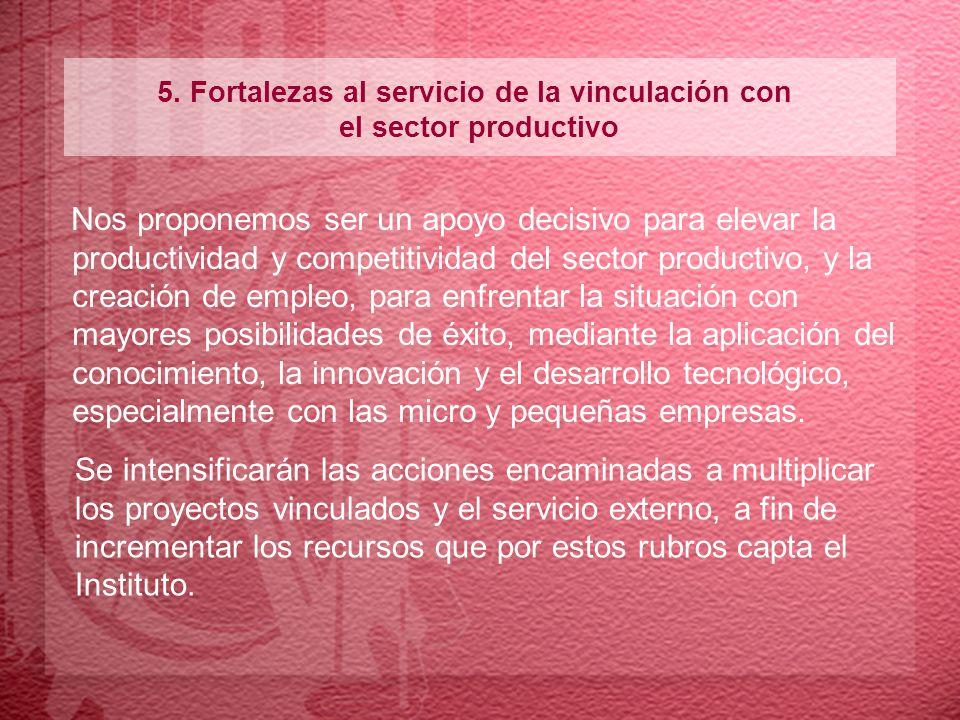 5. Fortalezas al servicio de la vinculación con el sector productivo Nos proponemos ser un apoyo decisivo para elevar la productividad y competitivida