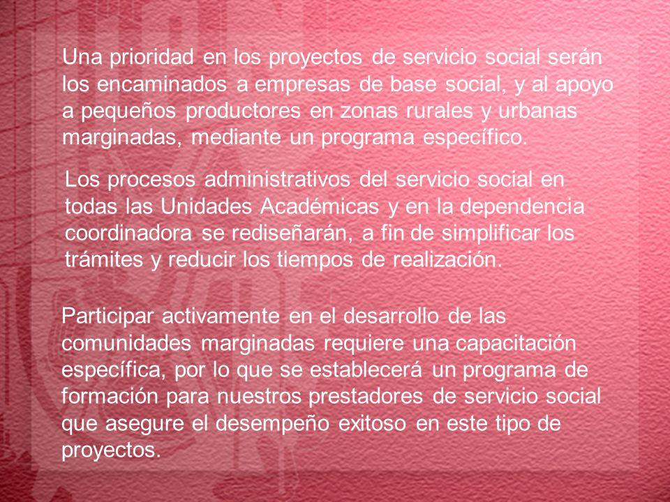 Una prioridad en los proyectos de servicio social serán los encaminados a empresas de base social, y al apoyo a pequeños productores en zonas rurales