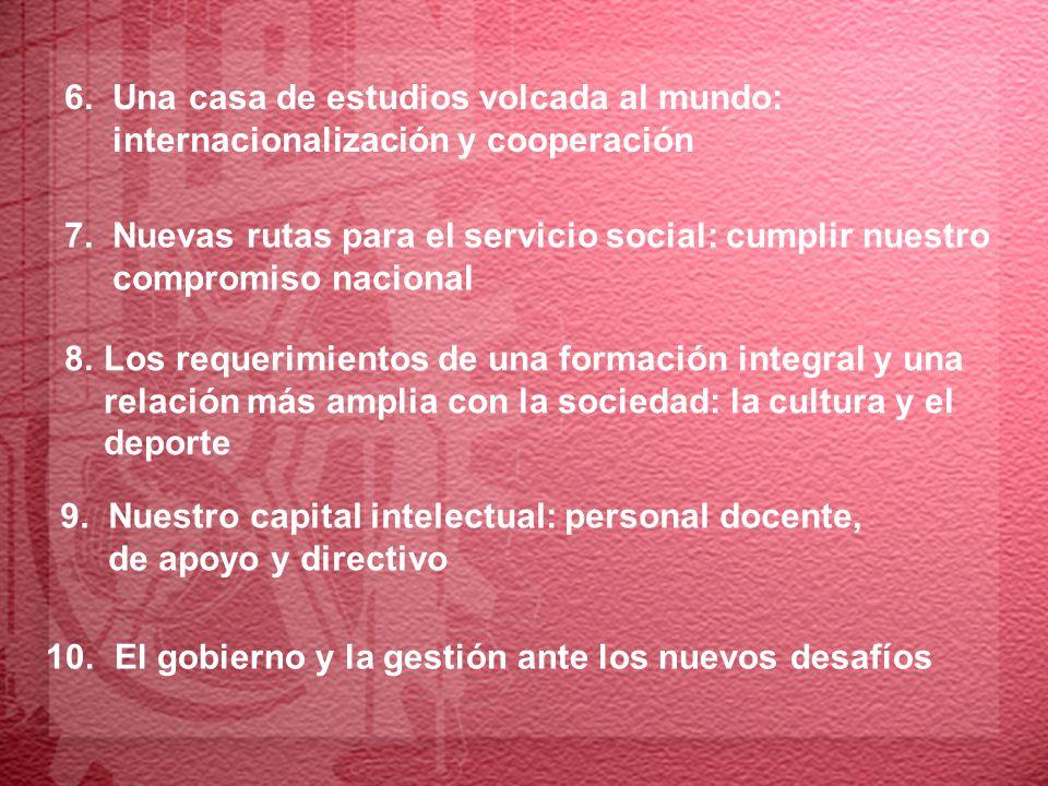 7. Nuevas rutas para el servicio social: cumplir nuestro compromiso nacional 10. El gobierno y la gestión ante los nuevos desafíos 9. Nuestro capital