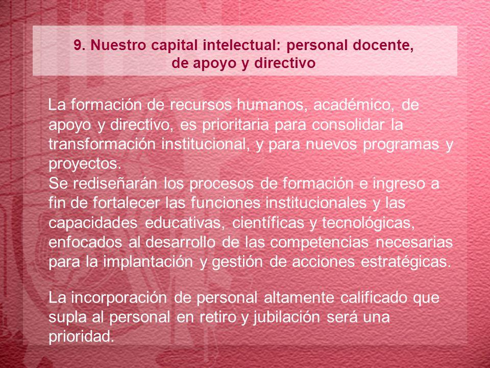 9. Nuestro capital intelectual: personal docente, de apoyo y directivo La formación de recursos humanos, académico, de apoyo y directivo, es prioritar