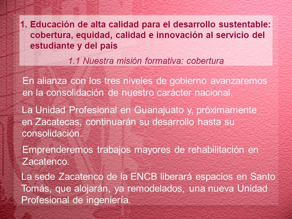 1. Educación de alta calidad para el desarrollo sustentable: cobertura, equidad, calidad e innovación al servicio del estudiante y del país 1.1 Nuestr