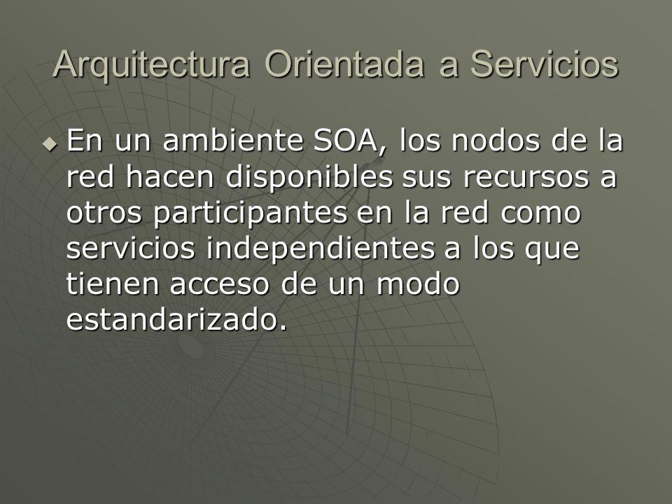 Arquitectura Orientada a Servicios En un ambiente SOA, los nodos de la red hacen disponibles sus recursos a otros participantes en la red como servici