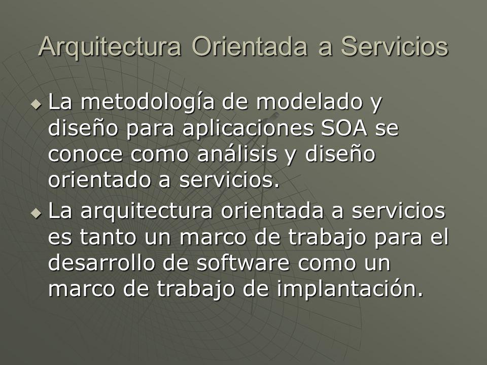 Arquitectura Orientada a Servicios La metodología de modelado y diseño para aplicaciones SOA se conoce como análisis y diseño orientado a servicios. L
