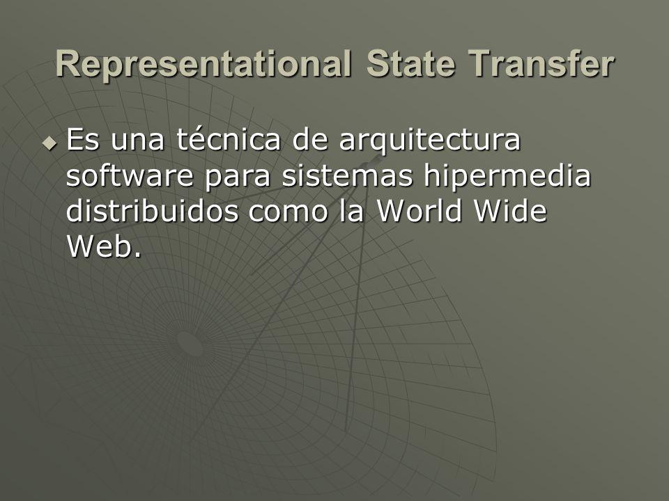 Representational State Transfer Es una técnica de arquitectura software para sistemas hipermedia distribuidos como la World Wide Web. Es una técnica d