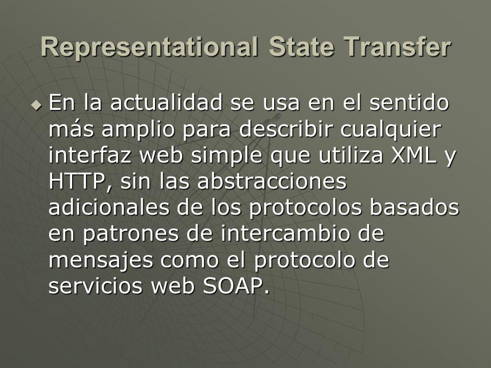 Representational State Transfer En la actualidad se usa en el sentido más amplio para describir cualquier interfaz web simple que utiliza XML y HTTP,