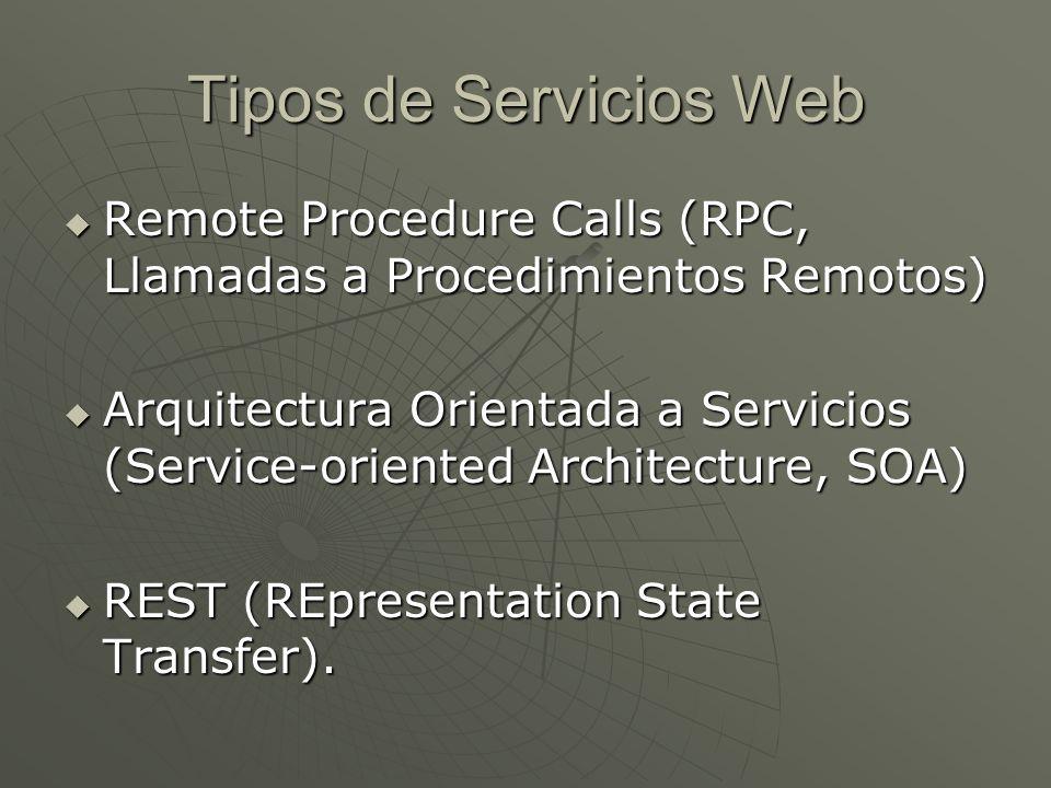 Tipos de Servicios Web Remote Procedure Calls (RPC, Llamadas a Procedimientos Remotos) Remote Procedure Calls (RPC, Llamadas a Procedimientos Remotos)