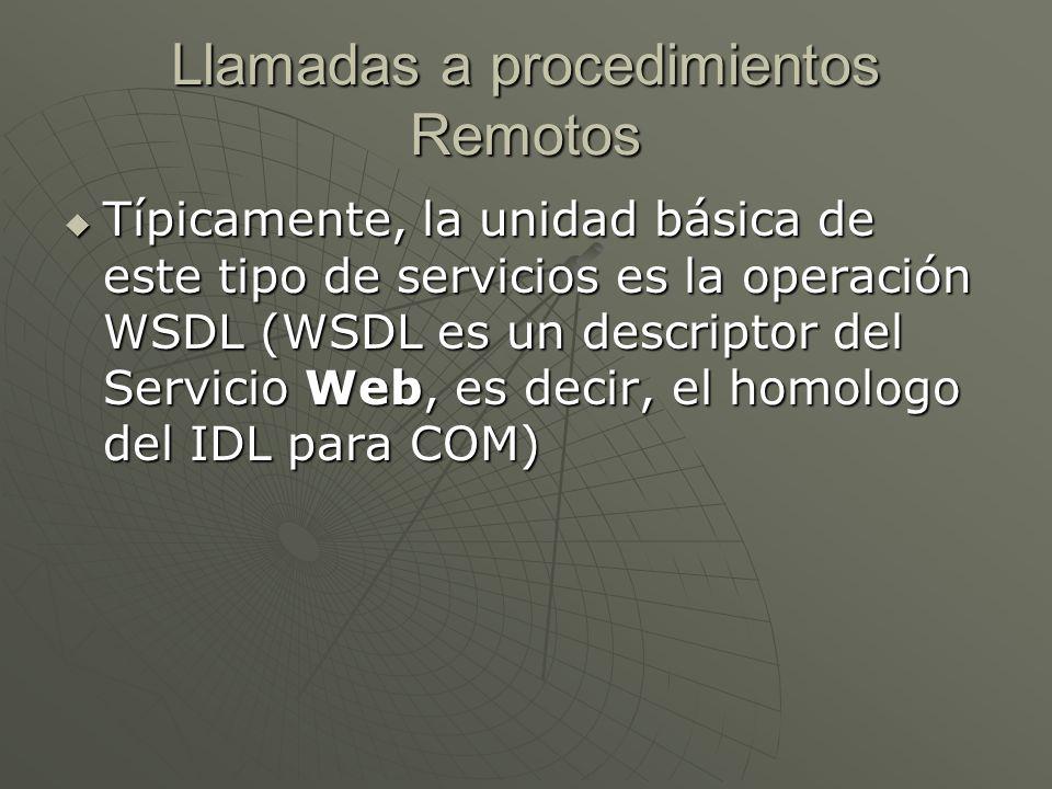 Llamadas a procedimientos Remotos Típicamente, la unidad básica de este tipo de servicios es la operación WSDL (WSDL es un descriptor del Servicio Web