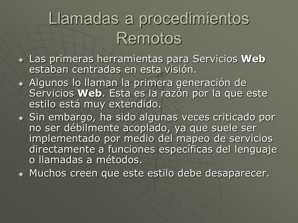 Llamadas a procedimientos Remotos Las primeras herramientas para Servicios Web estaban centradas en esta visión. Las primeras herramientas para Servic