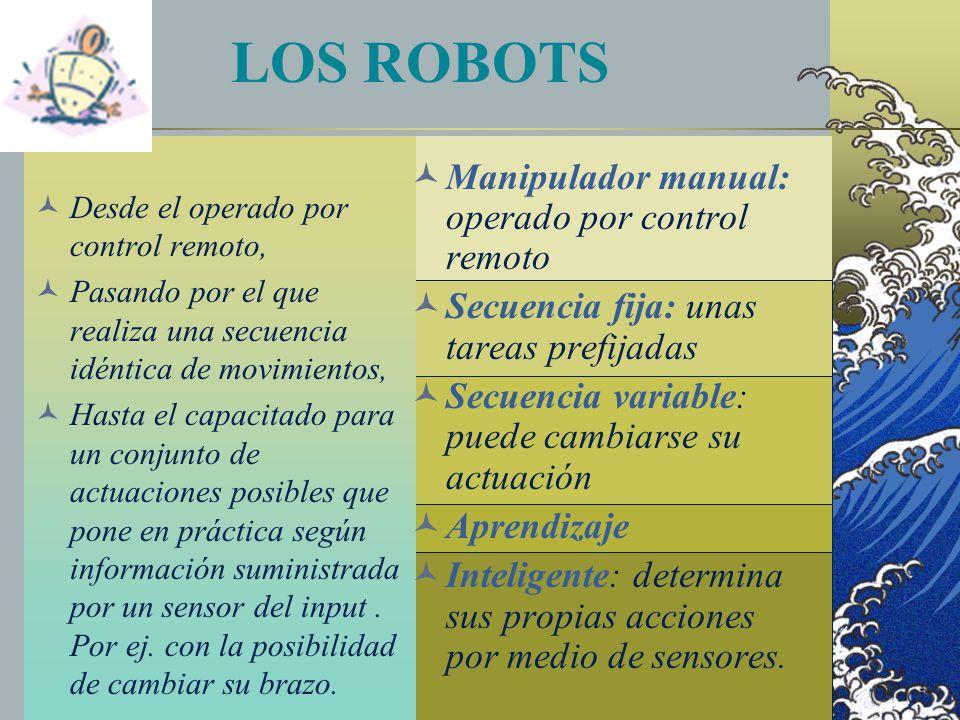 LOS ROBOTS Desde el operado por control remoto, Pasando por el que realiza una secuencia idéntica de movimientos, Hasta el capacitado para un conjunto de actuaciones posibles que pone en práctica según información suministrada por un sensor del input.