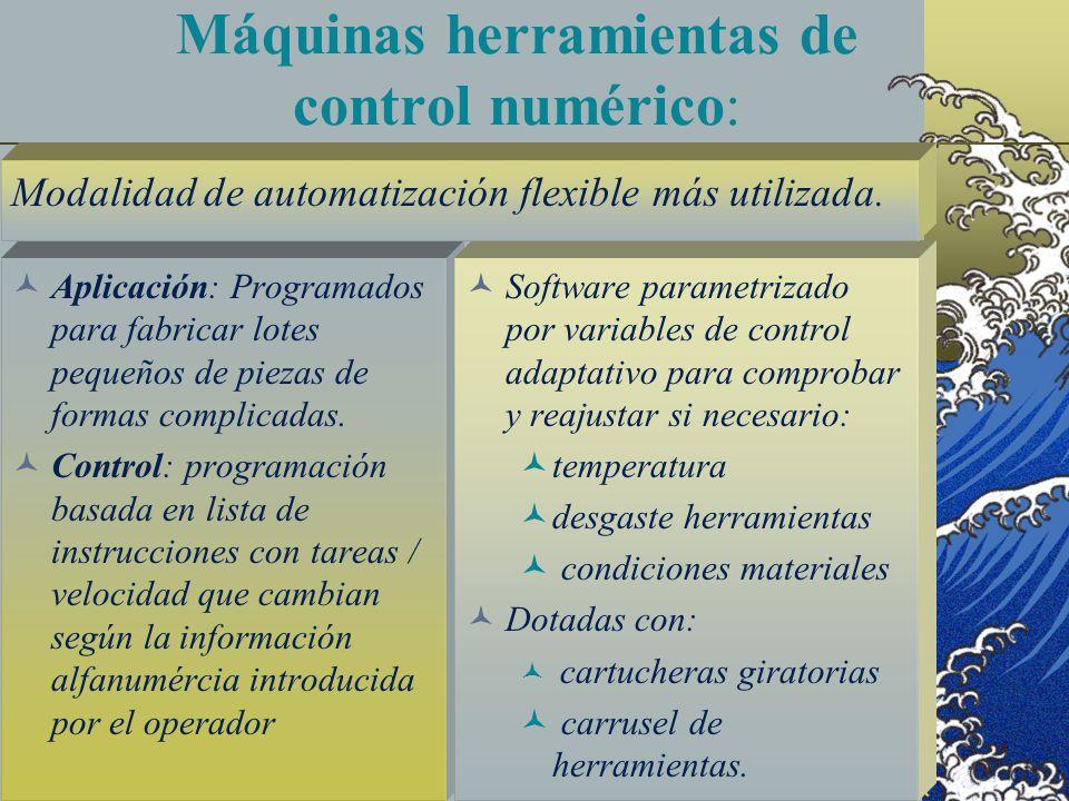 Máquinas herramientas de control numérico: Aplicación: Programados para fabricar lotes pequeños de piezas de formas complicadas. Control: programación