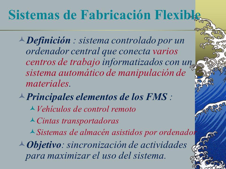 Sistemas de Fabricación Flexible Definición : sistema controlado por un ordenador central que conecta varios centros de trabajo informatizados con un sistema automático de manipulación de materiales.