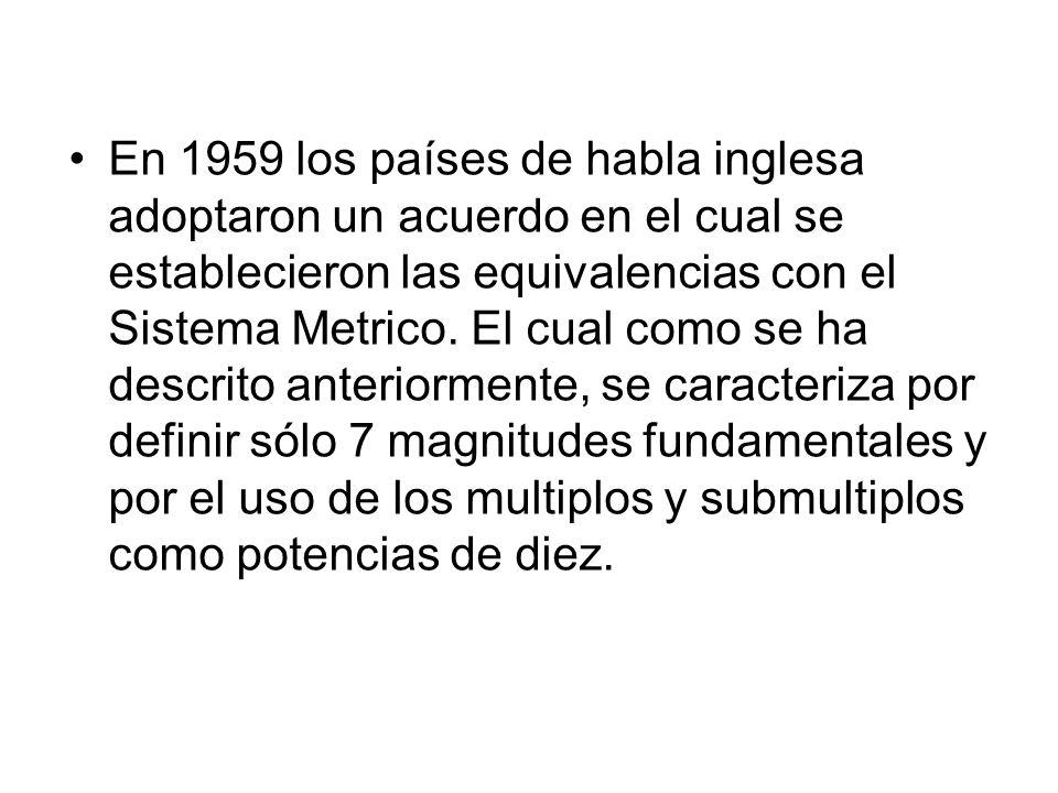 En 1959 los países de habla inglesa adoptaron un acuerdo en el cual se establecieron las equivalencias con el Sistema Metrico.