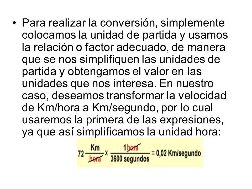 Para realizar la conversión, simplemente colocamos la unidad de partida y usamos la relación o factor adecuado, de manera que se nos simplifiquen las unidades de partida y obtengamos el valor en las unidades que nos interesa.