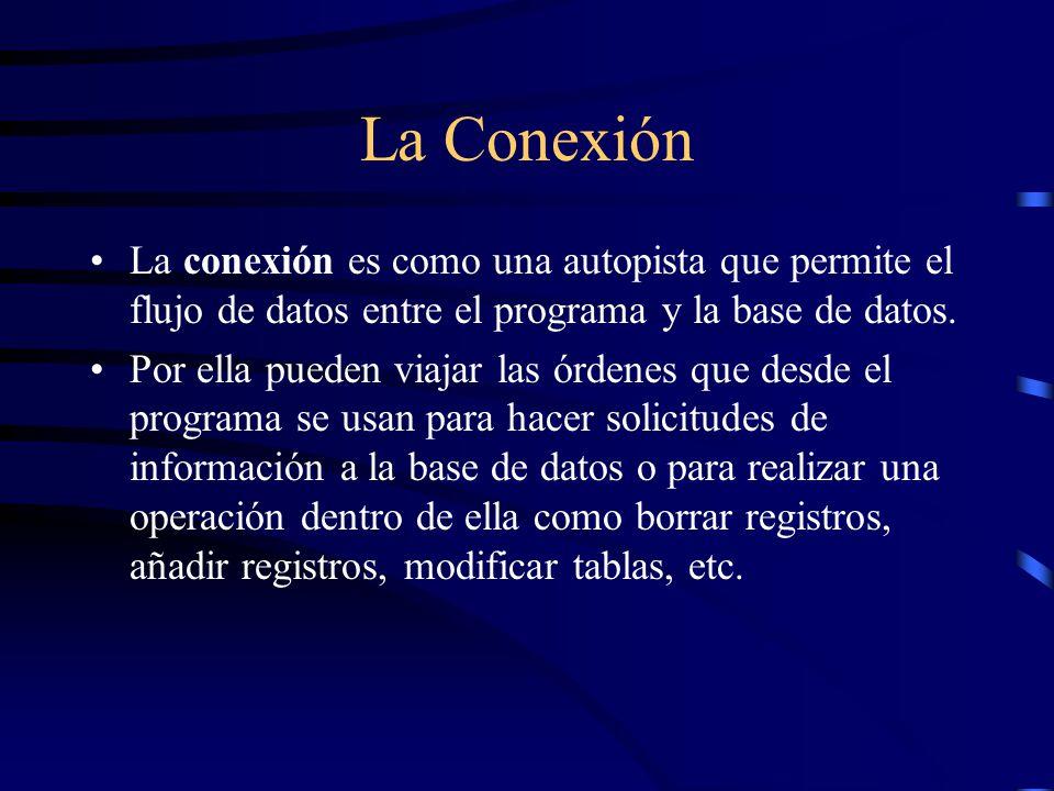 La Conexión La conexión es como una autopista que permite el flujo de datos entre el programa y la base de datos. Por ella pueden viajar las órdenes q