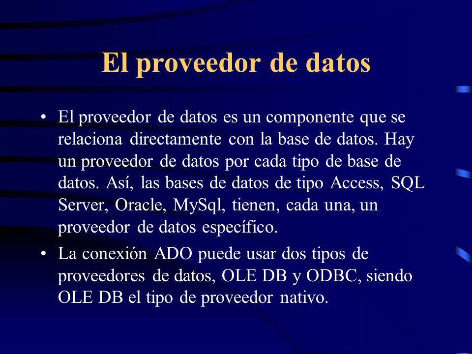 El proveedor de datos El proveedor de datos es un componente que se relaciona directamente con la base de datos. Hay un proveedor de datos por cada ti