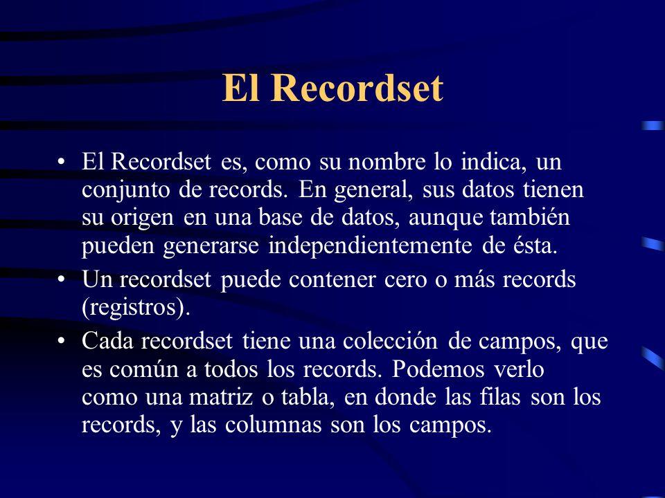El Recordset El Recordset es, como su nombre lo indica, un conjunto de records. En general, sus datos tienen su origen en una base de datos, aunque ta